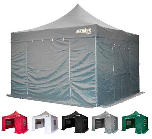 Bulhawk Gazebo  Premium Plus Pop Up 4x4m Heavy Duty Waterproof Commercial Grade Market Stall 4 Side Panels and Wheeled Carrybag (Grey)