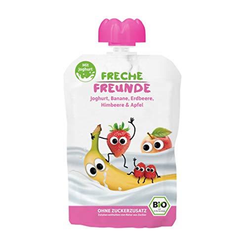FRECHE FREUNDE Bio Quetschie, Banane, Erdbeere, Himbeere & Apfel, Fruchtmus mit Joghurt im Quetschbeutel für Babys ab 1. Jahr, glutenfrei & vegan, 6-er Pack (6 x 100g)