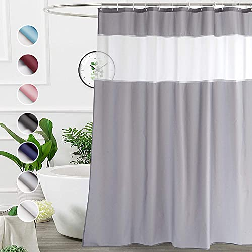 UFRIDAY White and Gray Shower Curtain 72-Inch by 78-Inch, Modern Shower Curtain Fabric