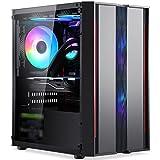 WERTYU Caja de PC Gaming, Ventiladores Incluidos, Panel Cristal Templado Caja De La Computadora