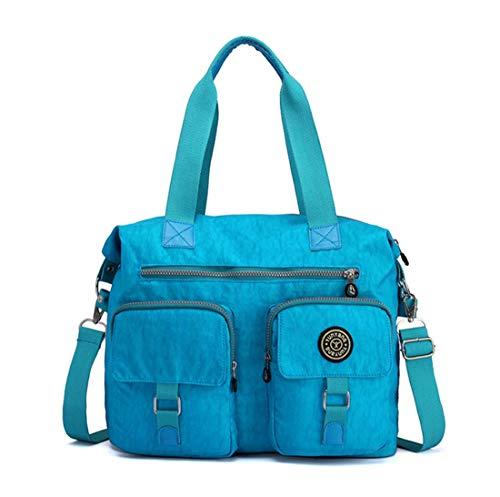 DNFC Damen Handtasche Schultertasche Groß Umhängetasche Wasserdicht Henkeltasche Beuteltasche Vintage Shopper Tasche für Frauen Mädchen (Hellblau)