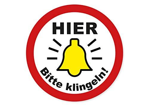 Bitte Hier klingeln Aufkleber Klingel Schild Sticker Tür Hinweis Eingang Türen Wetterfest Ritter Mediendesign