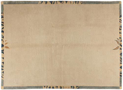 Teppich Tibeter ca. 175 x 240 cm Beige handgeknüpft Schurwolle Modern hochwertiger Teppich