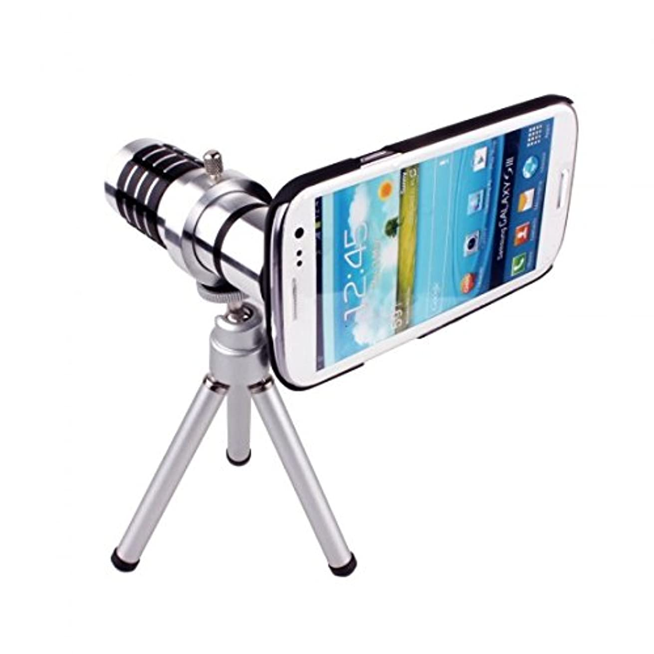 Kingzer 12X Zoom Phone Telephoto Camera Lens with Case Cover Kit Tripod for Samsung Galaxy S3 i9300
