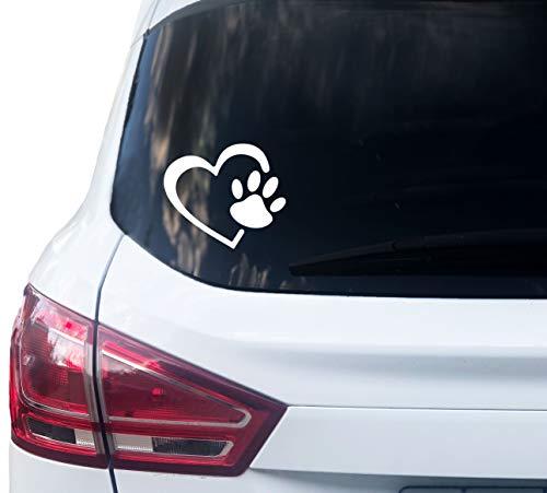 PrintAttack P069 | Dog Love Herz Pfote Hundeaufkleber Hundepfote Katzenpfote Cat Love Tierpfoten (10cm x 12cm) | Aufkleber | Hund | Katze | Pfötchen | Sticker für Auto, Wohnmobil, Laptop (Weiß)