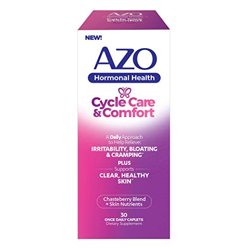 AZO® Cycle Care & Comfort   Supports Clear and Healthy Skin*   Supports Cycle Related Acne*   Helps Relieve Bloating, Irritability and Cramping*   PMS and Hormonal Health Support*   30 CT
