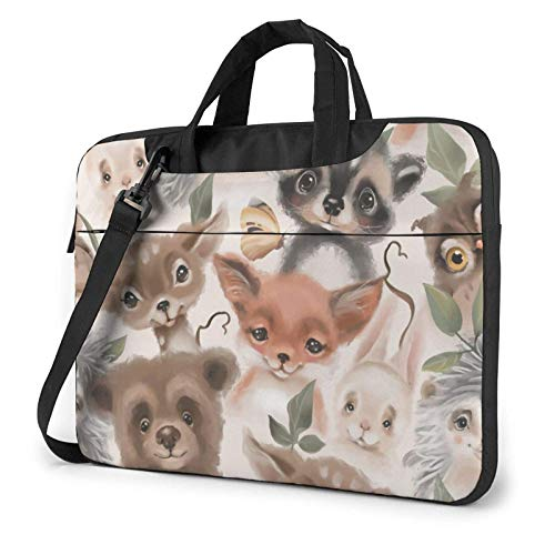 Laptop Bag Satchel Tablet,Deer Rabbit Watercolor Carrying Handbag Laptop Sleeve,Laptop Shoulder Messenger Bag Case Sleeve For Women & Men With Shoulder Straps & Handle