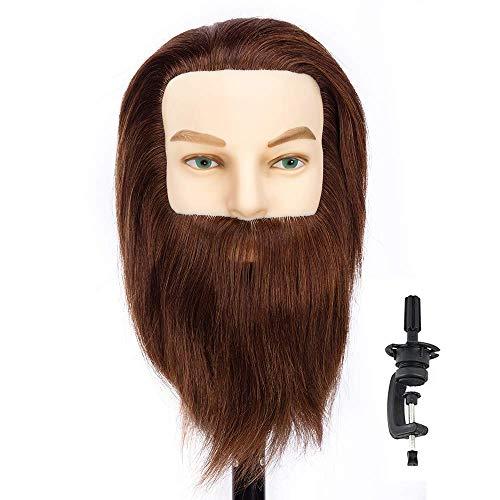 Cabeza Maniquí hombre barba y bigote 100% Pelo Natural Peluqueria practicas Formación Muñeca de la Cosmetología con soporte (adecuado para decoloración y teñido)