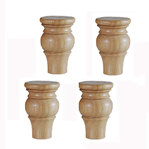 KMILE 6-12cm Massivholz Möbelfüße,europäische Sofa Beine,Retro, Schreibtisch-Tischbeine,Couch-Stuhl- /Kaffeetisch- /Kabinett-/Möbelersatzbeine,Holzstützbeine,(Weiß,Holzfarbe,Schwarz),4pcs