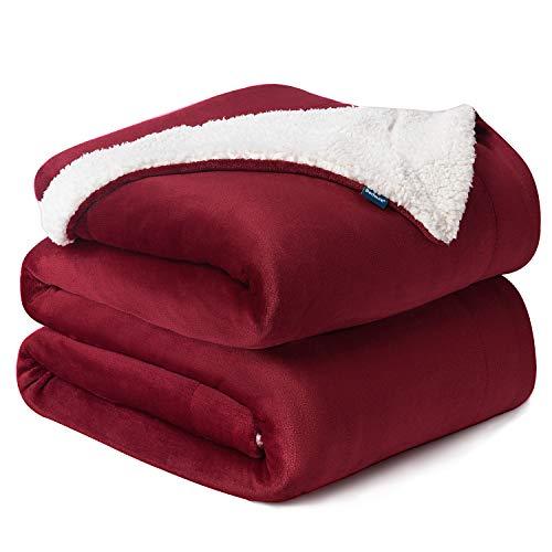 Bedsure Coperta di Pile Sherpa per Letto e Divano Grande Rossa 240x220cm - Plaid Letto Singolo Coperte di Sherpa e Flanell Microfibra Morbida