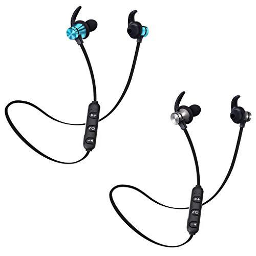 Lorjoyx Auriculares inalámbricos Bluetooth estéreo 5.0 Auriculares Deporte 5.0 Headset Manos Libres Auriculares Negro +Azul Negro
