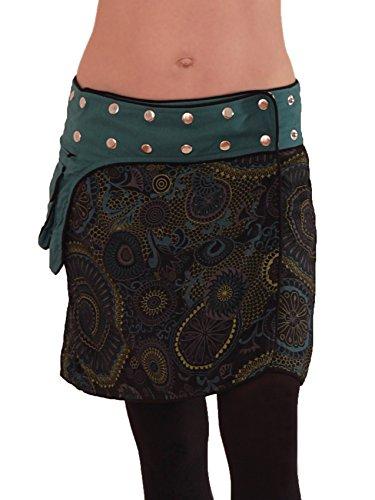 Leucht-Welten Damen Wickelrock Goa Rock mit Tasche sk100 Schwarz Einheitsgröße verstellbar