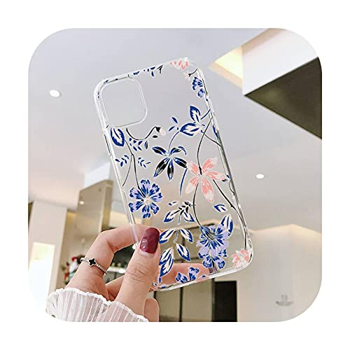 Moda lindas flores teléfono caso transparente para iPhone 6 7 8 11 12 s mini pro X XS XR MAX Plus SE cubierta funda-a10-iPhone8