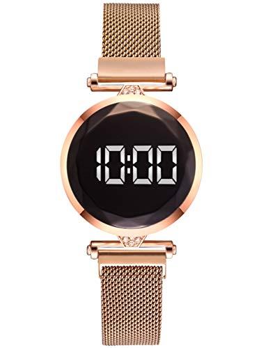 Damen Uhr,Digitale Sportuhren für Damen,Leuchtende wasserdichte LED Elektronische Uhr Roségold Edelstahl Magnetverschluss Quarz Uhr