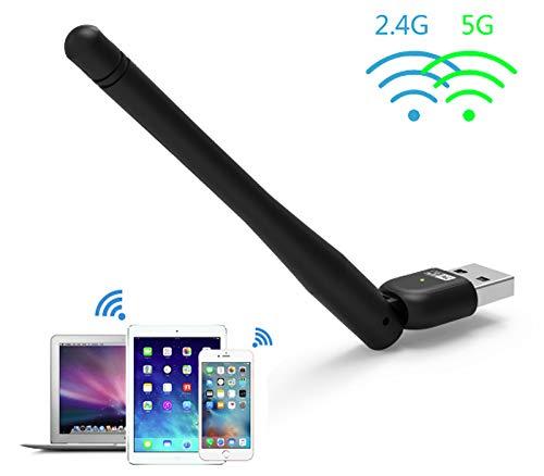 Wavlink 無線LAN子機 AC600デュアルバンド USBミニドングル USBアダプタネットワークLANカードアンテナ付き