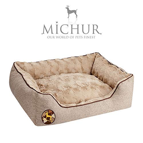 Michur Hundebett Tim, waschbares Tier Sofa für Katzen und Hunde in edlem braun, mit beidseitig anwendbarem Kissen, Hundekörbchen, Hundesofa, Hundekissen, Hundekorb, 65 cm x 55 cm x 18 cm