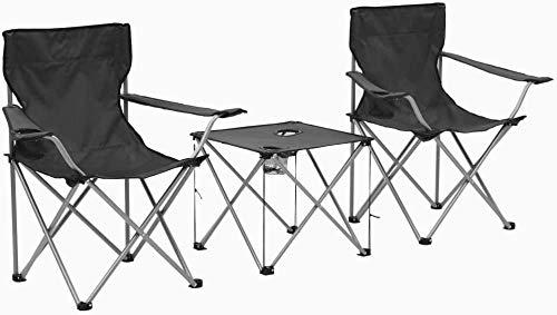 Topinged Juego de Mesa y Sillas de Camping Plegable de Resistente a la Intemperie e Impermeable con 3 Piezas Gris