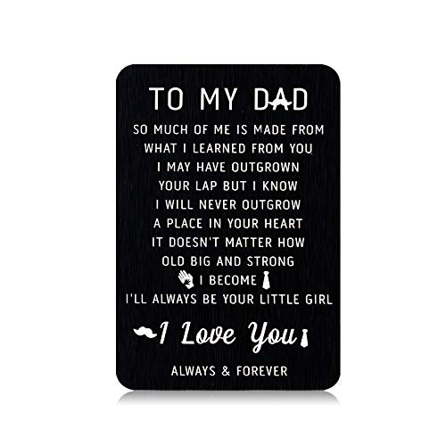 Dad Wallet Insert Card Birthday Christmas Gifts from Daughter to Daddy Fathers Day Valentine's Day Gifts for Husband Hubby from Little Girl Wife Wifey Thank You Dad I Love You Father of The Bride Gift