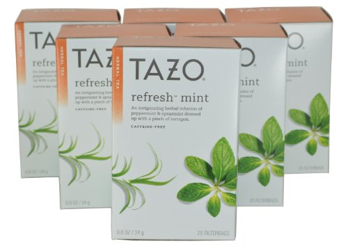 Tazo Refresh Herbal Infusion Tea, Caffeine Free, 20-Count Tea Bags (Pack of 6)