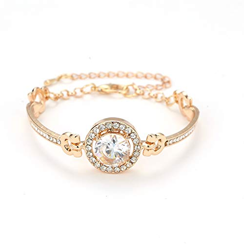 Pulseras de oro y plata de color dorado ajustable con circonita cúbica brillante pulsera de cristal de estrás para mujer regalo elegante pulsera (Color de metal: color dorado)