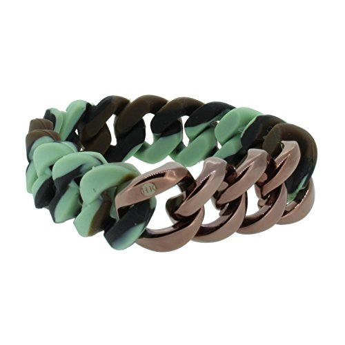 Hanse-Klunker Armband Herren ORIGINAL Silikon Muster Camouflage, Edelstahl Bronze Armreif Armkette Männer Jungen inkl. Schmuck-Geschenk-Box