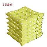 Ericcay Stuhlkissen 40X40 cm Dicke Weiche Sitzkissen Für Stühle Atmungsaktiv Unikat Nicht Leicht Verformt Flauschig.6 Stück (Braun 40 * 40 * 5) (Color : Grün Und Tupfen, Size : 40 * 40 *...