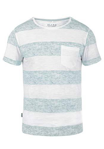 Blend Vegas Herren T-Shirt Kurzarm Shirt Streifenshirt Mit Streifen Und Rundhalsausschnitt 100% Baumwolle, Größe:3XL, Farbe:Soft Blue (74641)