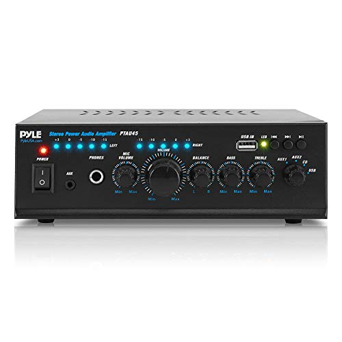 Portable Home Audio Power Amplifier - 2X120 Watt, 2 Channel Surround Sound Stereo Receiver w/ USB IN - For Amplified Subwoofer Speaker, CD DVD, MP3, iPhone, Phone, Theater, PA System - Pyle PTAU45