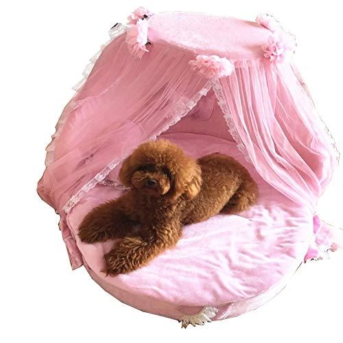 XZPENG Hund Prinzessin Bett mit Anti-Rutsch-Boden Luxuxhaustier-Foam-Betten for Innen weiche bequeme Wohnzimmer Hunde-Bett-Haustier-Nest (Color : PINK)