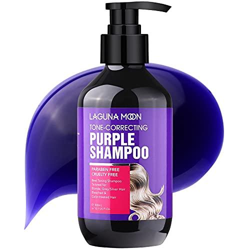 Lagunamoon Tone-correcting Purple Shampoo for Blonde Hair, Grey/Silver Hair, Bleached & Color-treated Hair, Color Depositing Shampoo for Neutralizing Yellow Tones, Paraben Free, Non-irritating, 10.1oz