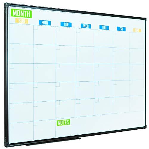 Lockways Dry Erase Calendar Whiteboard, Colorful Magnetic White Board Calendar 36 x 24 Inch, Framed Monthly Planning Board Ultra-Slim Black Aluminium Frame