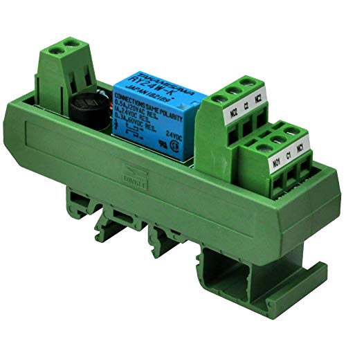 Electronics-Salon AC/DC 24V Slim DIN Rail Mount DPDT Signal Relay Interface Module, RY24W-K.