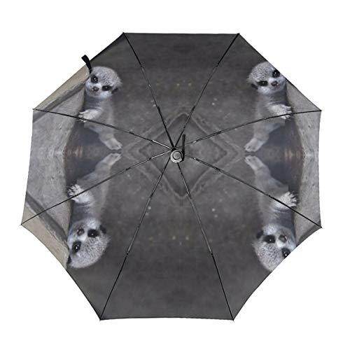 Paraguas plegable compacto con diseño de suricata para bebé, resistente al viento y a la lluvia Impresión interior. talla única