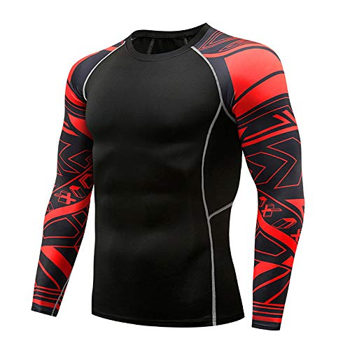 qulvyushangmaobu Pantalones de Yoga para Hombre + Traje de Camisa de Secado rápido Camisa de Compresión para Hombre Camiseta Deportiva de Manga Larga Entrenamiento Running Top