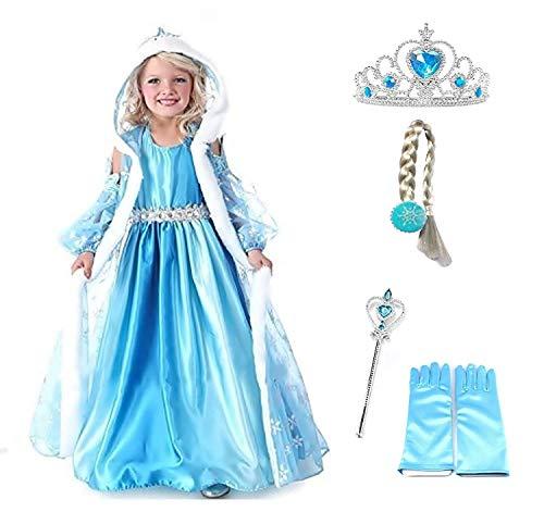 Rozmiar 140 - 7 - 8 lat - kostium Elsa - kaptur - akcesoria - korona - czarodziejska różdżka - rękawiczki - warkocz - dziewczynka - niebieska - sukienka - karnawał - Halloween - Cosplay - księżniczka - Kraina Lodu