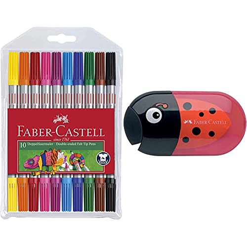 Faber-Castell 151110 - Doppelfasermaler, 10er Etui, 1 Stück & 183526 - Doppelspitzdose Käfer Inklusiv Radierer
