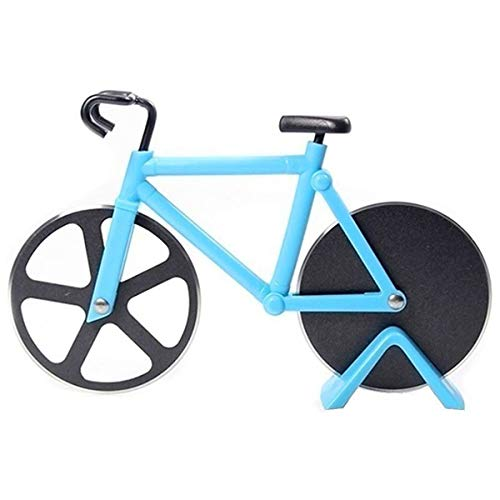 Bicycle Pizza Cutter Wheel Non-Stick Cutting Wheel Dual Stainless Steel best for Holiday Vacation Housewarming Cool Kitchen Gadget Gift with Stand (Blue)