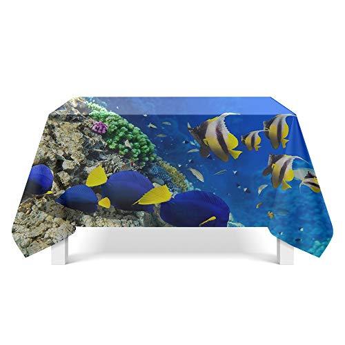 DREAMING-Unterwasser Welt Kunst Tischdecke Home Esstisch Stoff Tv-Schrank Couchtisch Stoff Runde Tisch Tischset 140cm * 180cm