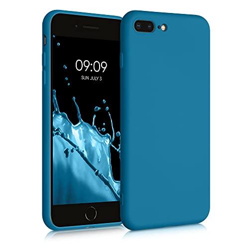 kwmobile Carcasa Compatible con Apple iPhone 7 Plus / 8 Plus - Funda de Silicona para móvil - Cover Trasero en Azul océano