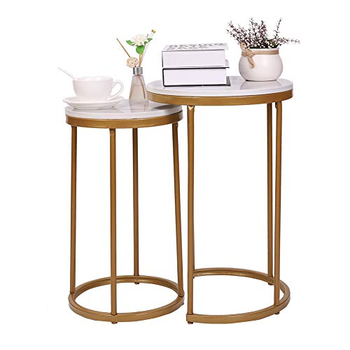 Ukmaster Marble Round Table Nesting Side Tables 2 pcs White End Table Sofa Side Table Modern Nightstand Golden Metal Frame Coffee Tables Nest of 2 tables Practical Furniture