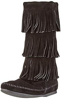 Minnetonka Women s 3-Layer Fringe Boot,Black,9 M US