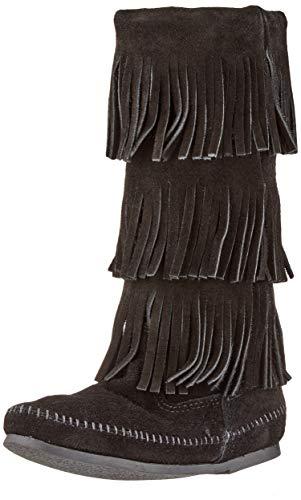 Minnetonka Damen 3-Layer Fringe Boot Mokassin Stiefel, Schwarz (Black 9), 37