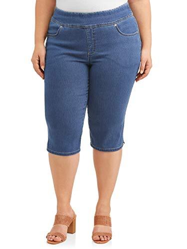 Women's Stretch Denim Capri Pants (0X, Medium Wash)