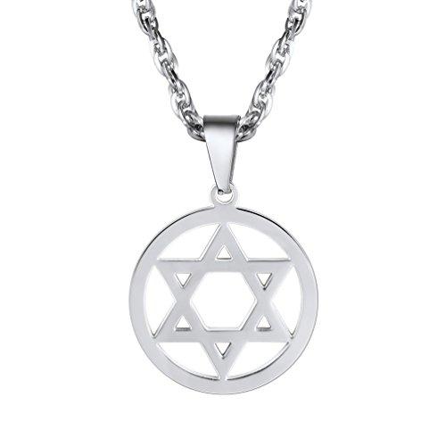 PROSTEEL Colgante de Estrella de David para Hombre Collar Acero Inoxidable