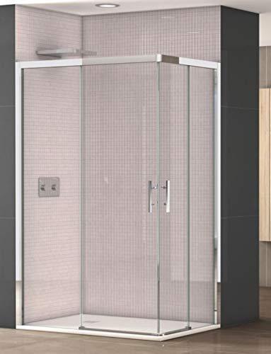 Mampara de Ducha Angular - 2 Hojas Fijas y 2 Hojas Correderas - Cristal de Seguridad de 6 mm - Modelo SEGOVIA Q4 (70X140)