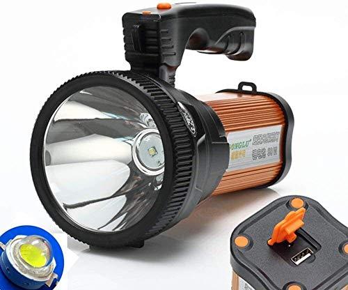 FANLIU LED Projecteur Rechargeable portatif Projecteur Lanterne de Camping, Banque d'alimentation Haute Puissance Super Bright 9000 MA 6000 LUMENS CREE Tactique Torche Lanterne Lampe de Poche (Or)