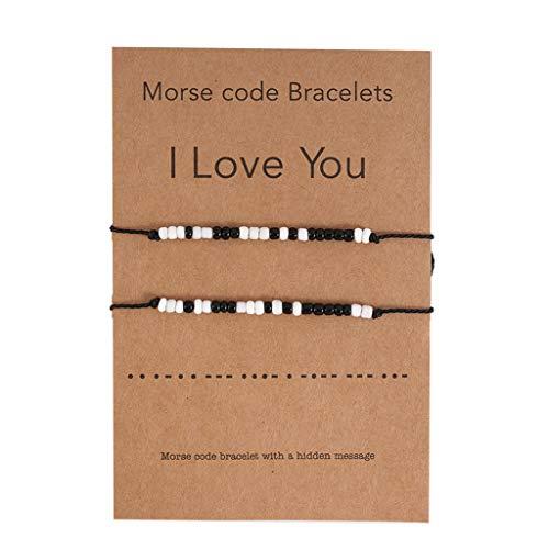 YU-HELLO_2Pcs I Love You Friendship Lover Morse Code Beaded Bracelet with Secret Message