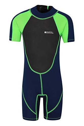 Mountain Warehouse Junior kurzer Kinder-Neoprenanzug - Sommer-Nasstaucheranzug, Leichtlauf-Reißverschluss, Flachnähte, Verstellbarer Nacken Grün 13 Jahre