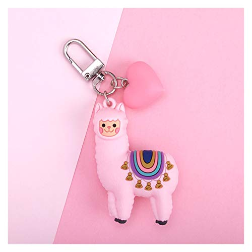 QH Moda DIY Regalos Hechos A Mano Bolsos De Camel Llavero del Amor De Dibujos Animados Bola Colgante Llavero Epoxi Alpaca Joyas (Color : Heart Pink)