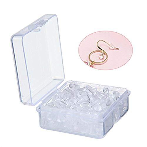 Aolvo - Farfalline in plastica morbida trasparente, da usare come fermi di sicurezza per i ganci degli orecchini, dotati di pratica valigetta; 4 x 5 mm; in confezione da 200 (100 paia)